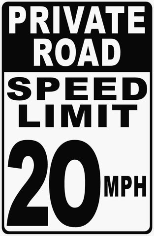 Private Road Speed Limit 20 MPH Sign