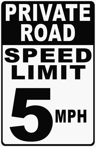 Private Road Speed Limit 5 MPH Sign