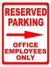 Reserved Parking Office Employees Only Sign w/ Directional Arrows - Signs & Decals by SalaGraphics