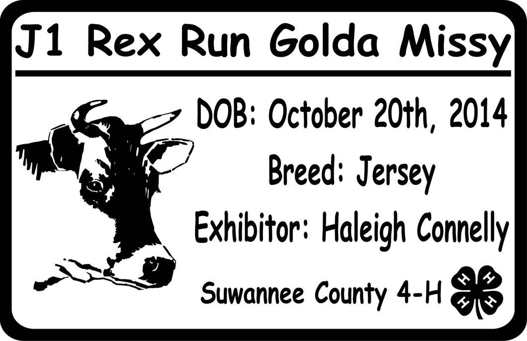 Custom Jersey Cow Exhibitor Sign - Signs & Decals by SalaGraphics