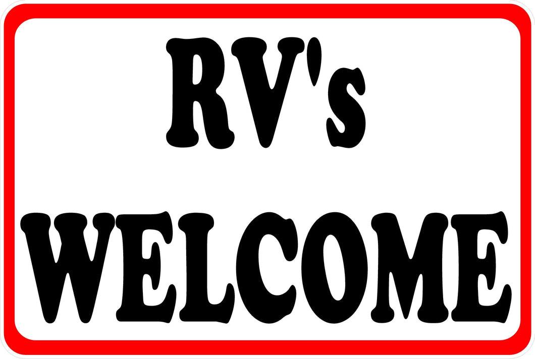 Recreational Vehicles Welcome Sign