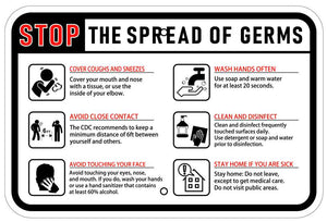 STOP The Spread of Germs Coronavirus Sign 12x18 Landscape Reflective Heavy Duty