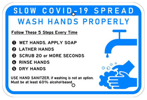 SLOW COVID 19 Spread Wash Hands Properly Sign 12x18 Reflective Heavy Duty