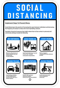 Social Distancing Guidelines Coronavirus Sign 12x18 Reflective Heavy Duty