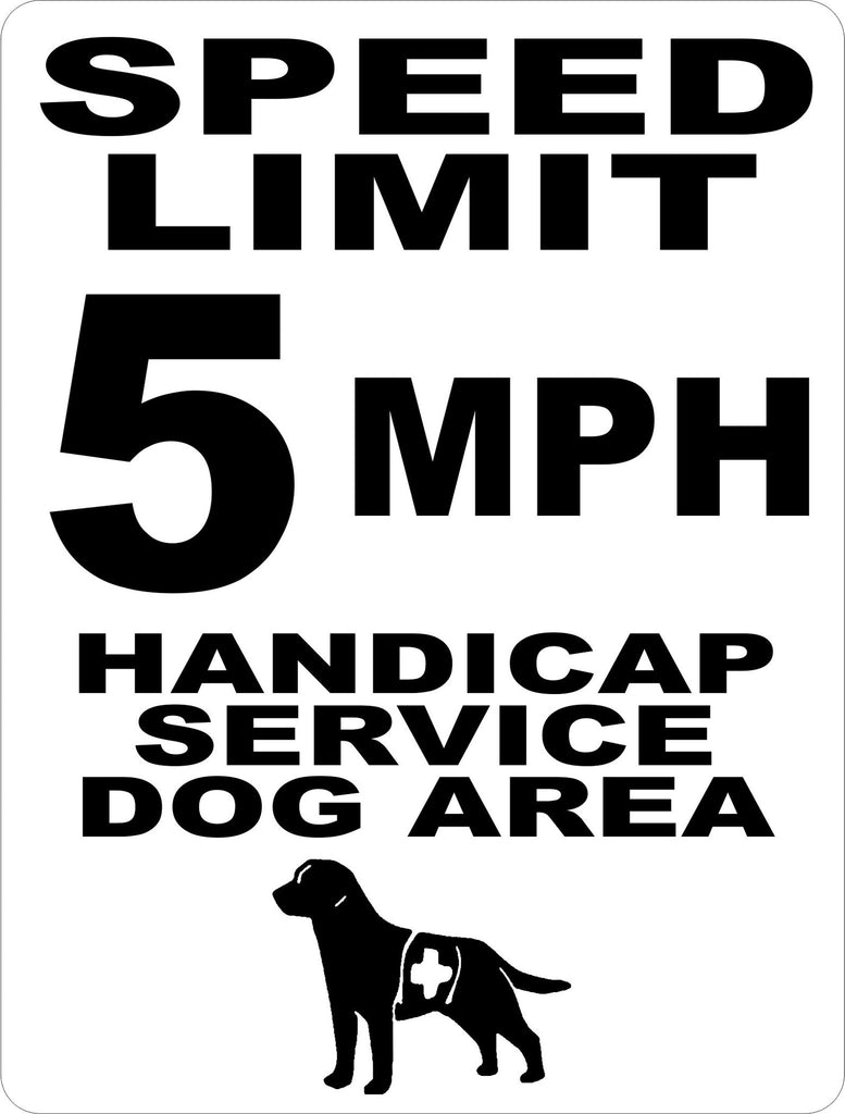 Speed Limit 5 MPH Handicap Service Dog Area Sign - Signs & Decals by SalaGraphics