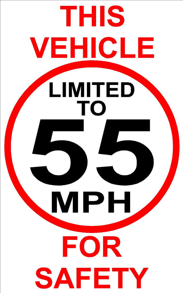 Vehicle Limited to 55 MPH For Safety Decal
