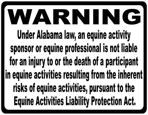 Alabama Equine Activity Liability Sign