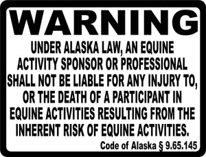 Alaska Equine Activity Liability Sign - Signs & Decals by SalaGraphics