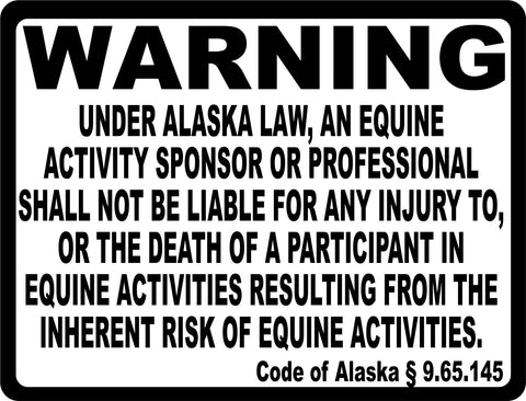 Alaska Equine Activity Liability Sign