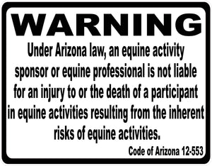 Arizona Equine Activity Liability Sign - Signs & Decals by SalaGraphics