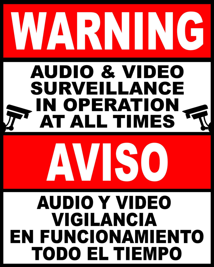 Bilingual Audio & Video Surveillance in Use at All Times Decal. English & Spanish - Signs & Decals by SalaGraphics