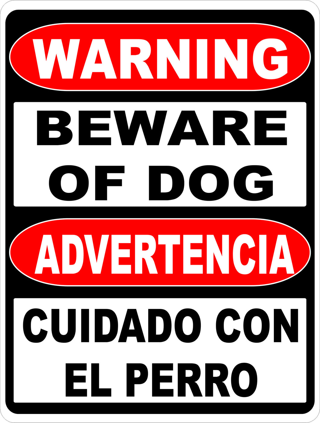 Bilingual Warning Beware of Dog Sign Advertencia Cuidado Con El Perro - Signs & Decals by SalaGraphics
