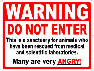 Warning Do Not Enter Sanctuary for Rescued Animals Sign - Signs & Decals by SalaGraphics