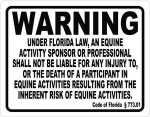 Florida Equine Activity Liability Sign - Signs & Decals by SalaGraphics