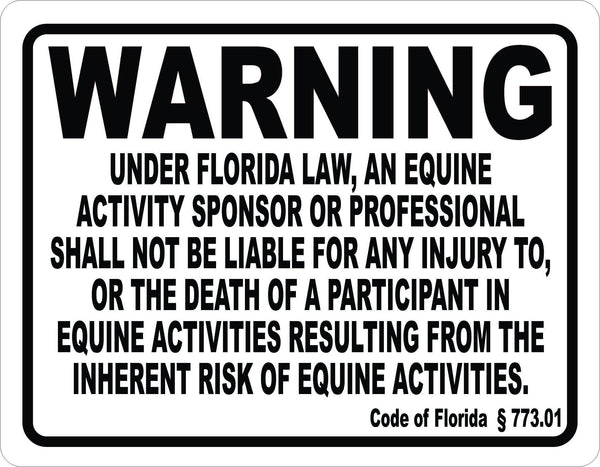 Florida Equine Activity Liability Sign Signs By Salagraphics