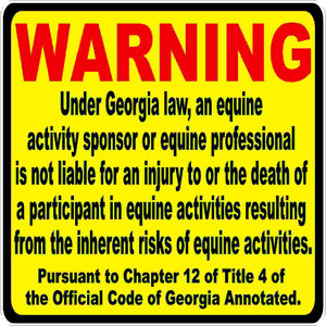 Georgia Equine Liability Law Decal
