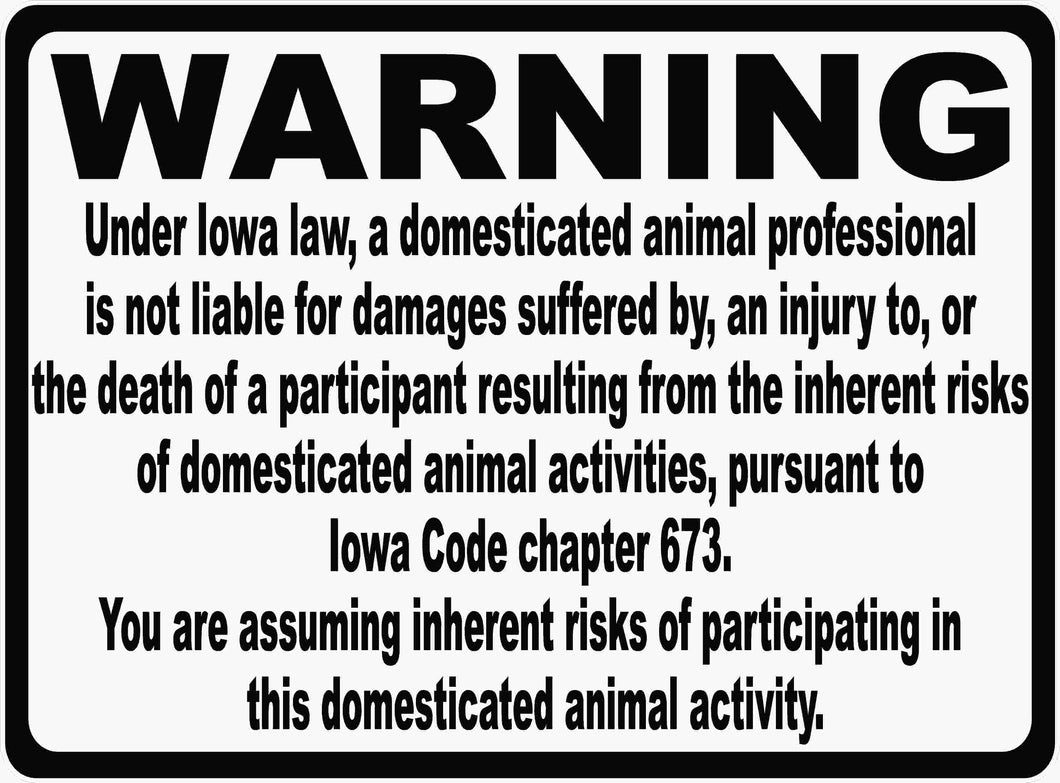 Iowa Horse Equine Liability Law Sign