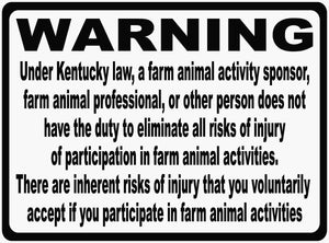 Kentucky Equine Liability Law Sign