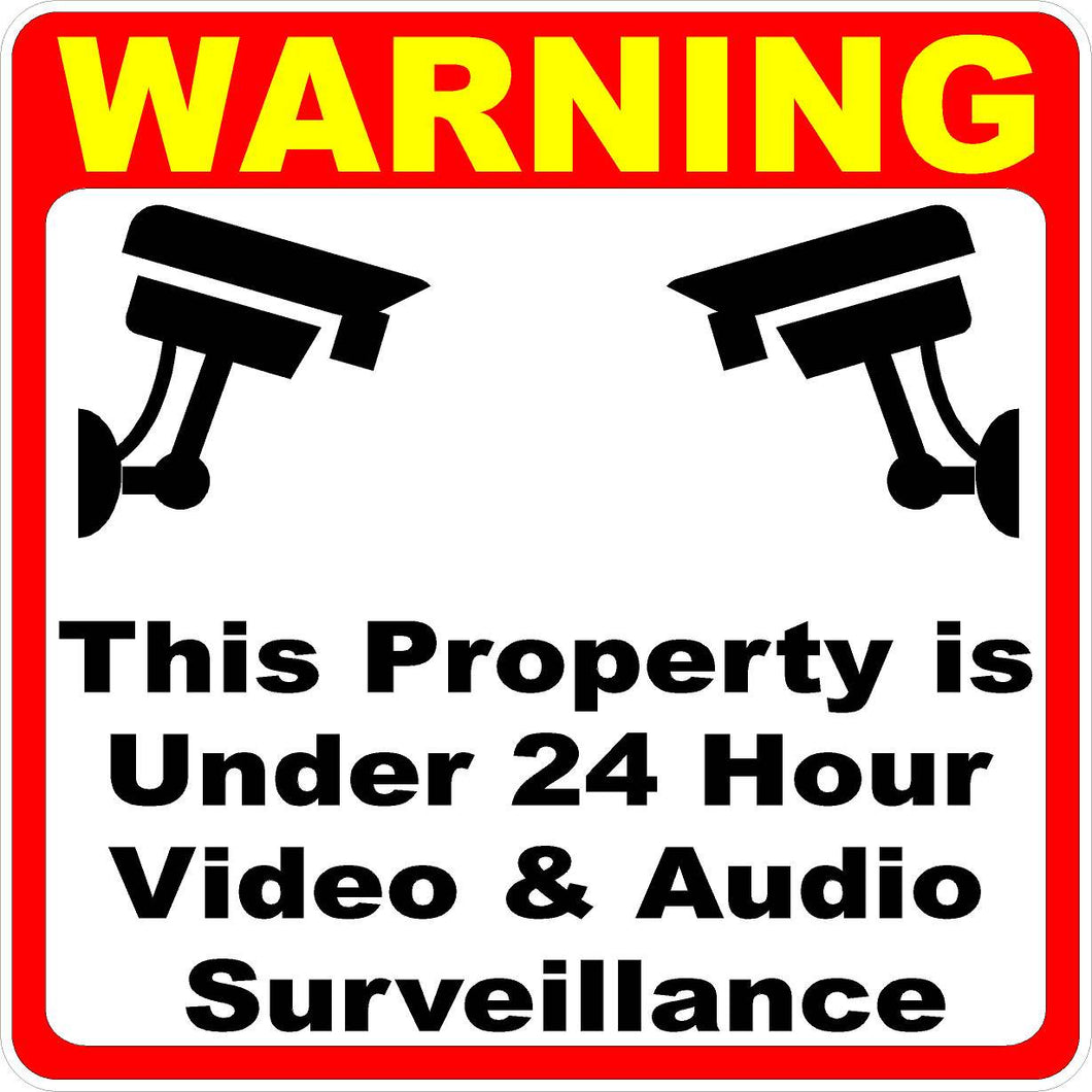 Warning Property Under 24 Hour Video Surveillance Decal - Signs & Decals by SalaGraphics
