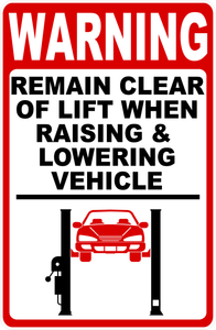 Auto Repair Shop Lift Safety Sign