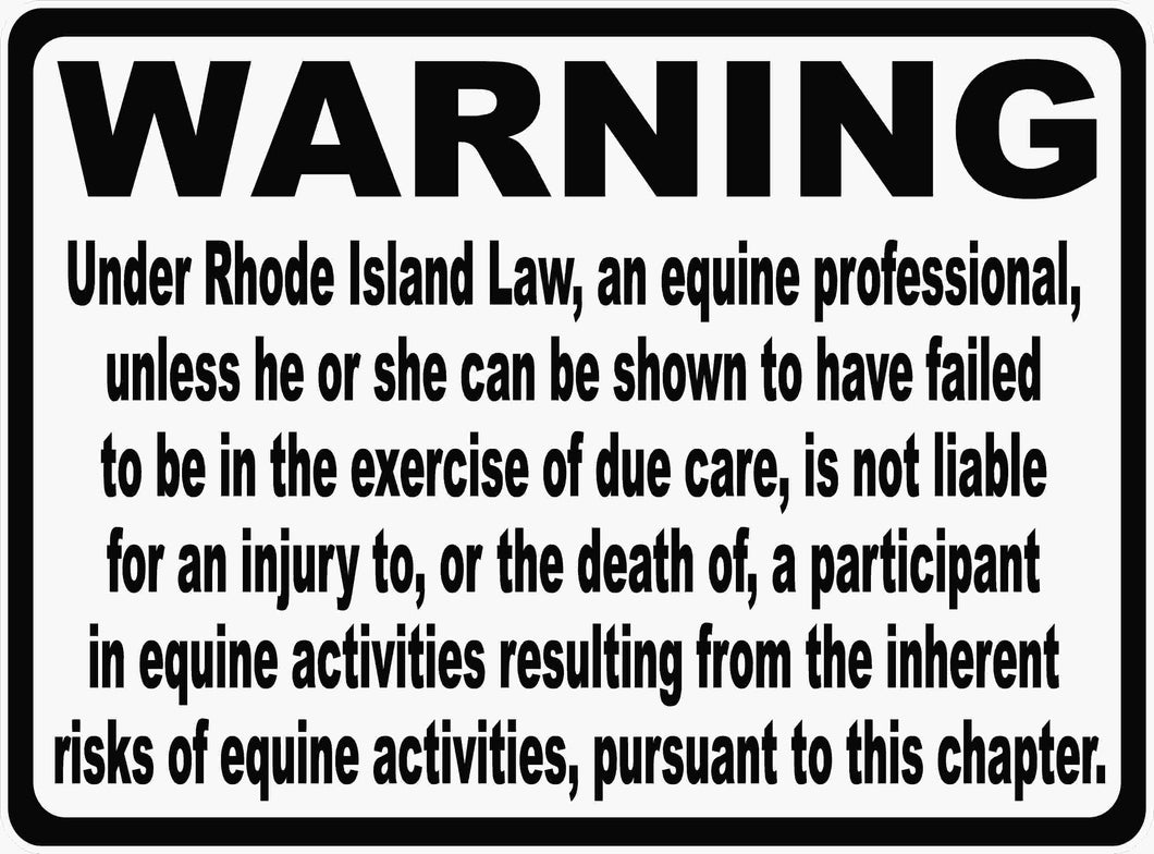 Rhode Island Horse Liability Law Sign