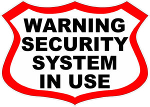 Warning Security System in Use Decal - Signs & Decals by SalaGraphics