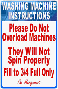 Laundromat Washing Machine Overload Instructions Sign