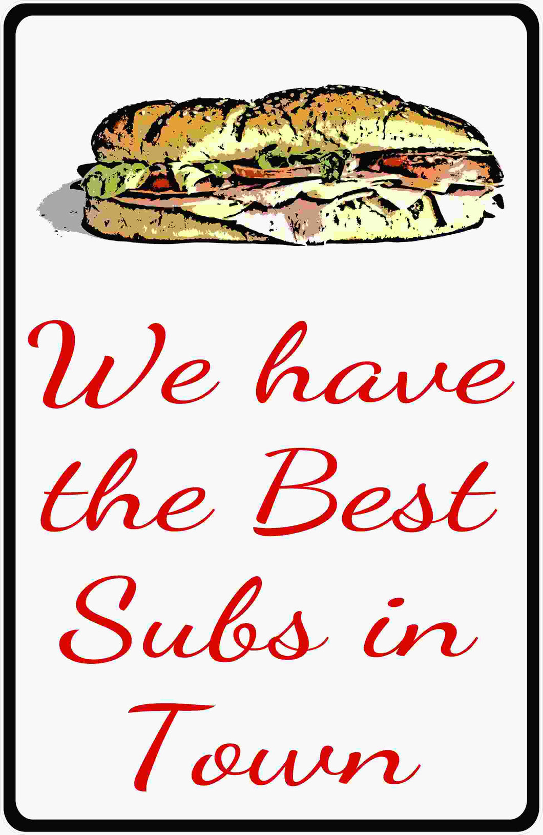 Deli Submarine Sandwich Menu Sign