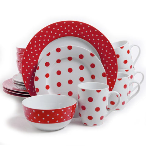 Isaac Mizrahi Dot Luxe Red Polkadot Porcelain Dinnerware Set