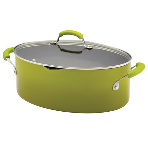 Rachael Ray Porcelain Enamel II Nonstick 8-Quart Covered Oval Pasta Pot with Pour Spout-Green