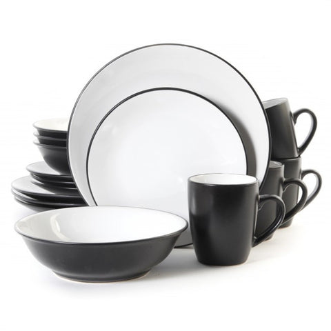 Vivendi 2 Tone 16pc Dinnerware Set Black/White