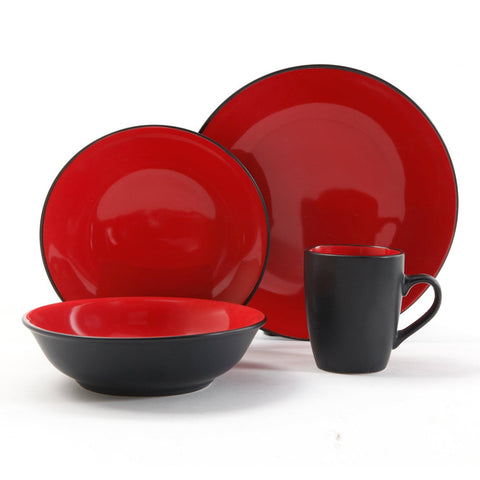 Vivendi 2-Tone 16 pc Dinnerware Set-Red/Black
