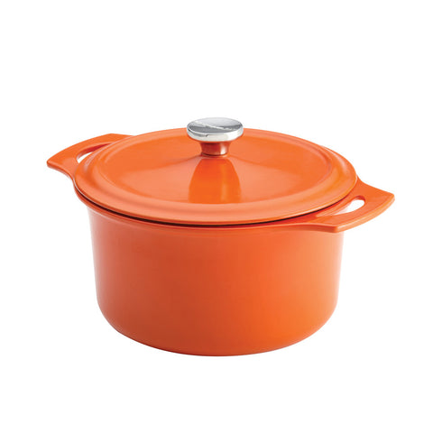 Rachael Ray Cast Iron, 5-Quart Round Covered Casserole-Orange