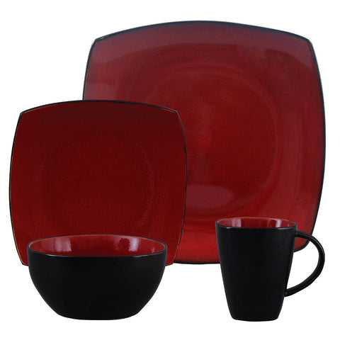 Soho Lounge Square 16-piece Dinnerware Set, Burgundy