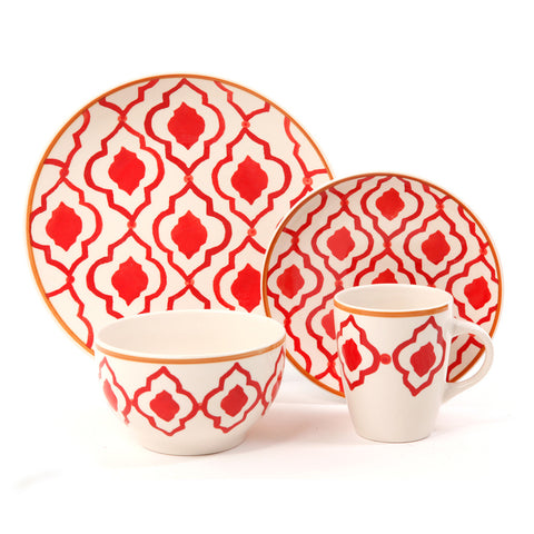 Medallion Trellis 16pc Dinnerware Set-Coral Stoneware