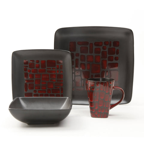 Gibson Elite Cabazon 16 Piece Dinnerware Set in Red