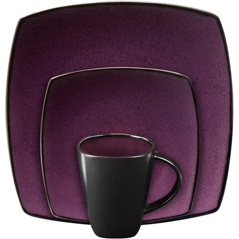 Gibson Soho Lounge Square 16-piece dinnerware set Purple