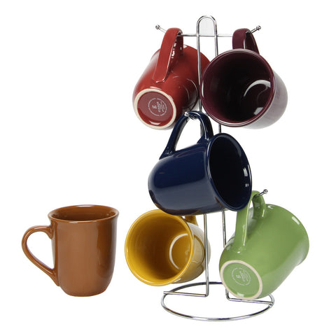 Cafe Amaretto 7 pc Mug Set With Wire Rack