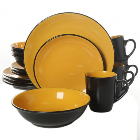Vivendi 2 Tone 16pc Dinnerware Set Black/Yellow