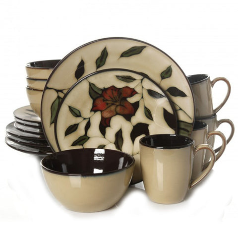 Gibson Scarlet Floret 16pc Dinnerware Set
