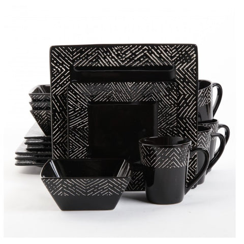 Banbury 16 Piece Dinnerware Set - Black
