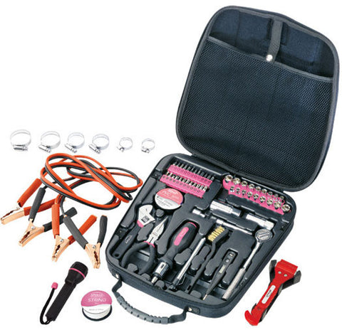 64 Piece Travel & Automotive Tool Kit-Pink