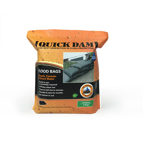 "QUICK DAM- FLOOD BAGS - 12"" x 24"" x 3.5"" high ( 6 Pack )"