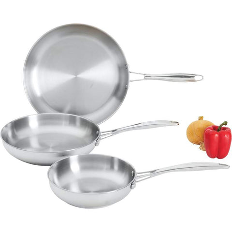 3pc Maxam T304 Stainless Steel Frypan Set w/Long Riveted Handles