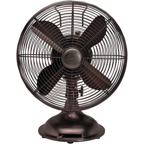 "Hunter 12"" Retro Personal Table Fan With Oil-rubbed Bronze Finish"