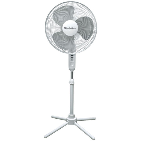 "Comfort Zone 16"" Oscillating Pedestal Quad Pod Fan"