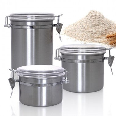 Ingredient Canisters - Stainless Steel 50 oz., 35 oz., and 26 oz.