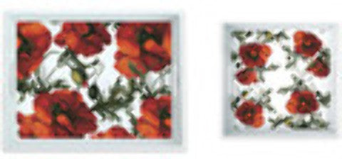 melamine-serving-tray-set:-red-papaver-flower