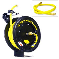 "1/2"" x 50' Retractable Air Hoses on Metal Reel"