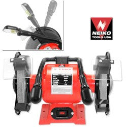 "NEIKO 8"" Bench Grinder w/Dual Lights"